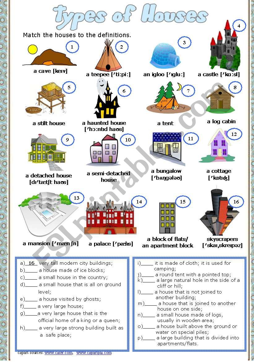 Types of Houses Part  3  # Matching exercise # Answer Key # fully editable