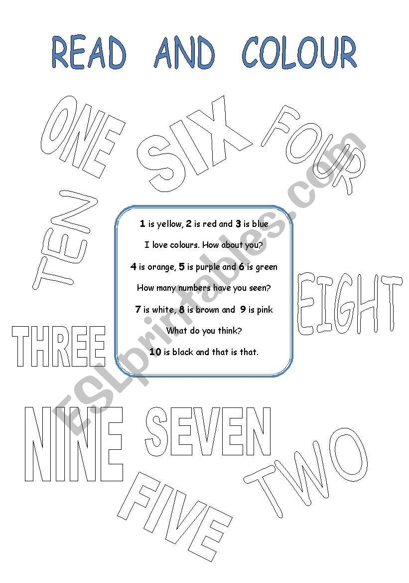 READ THE POEM  AND COLOUR THE NUMBERS