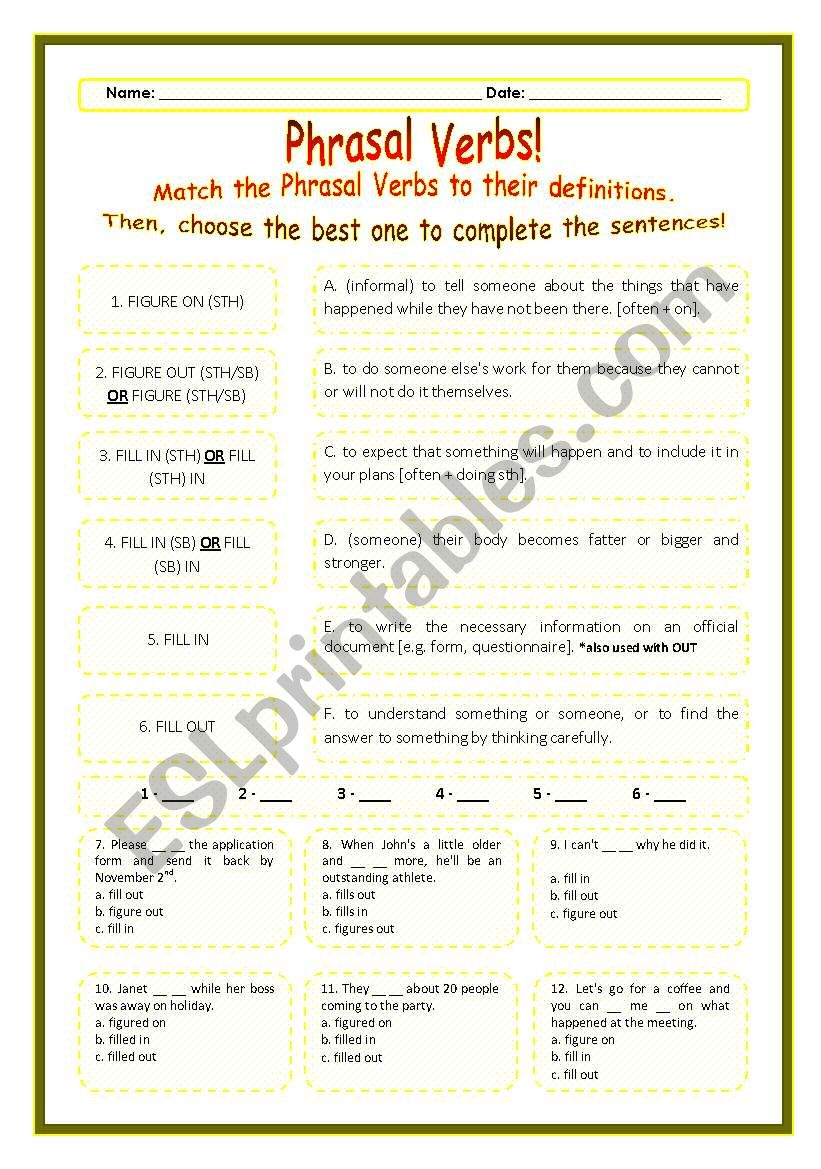 > Phrasal Verbs Practice 35! > --*-- Definitions + Exercise --*-- BW Included --*-- Fully Editable With Key!