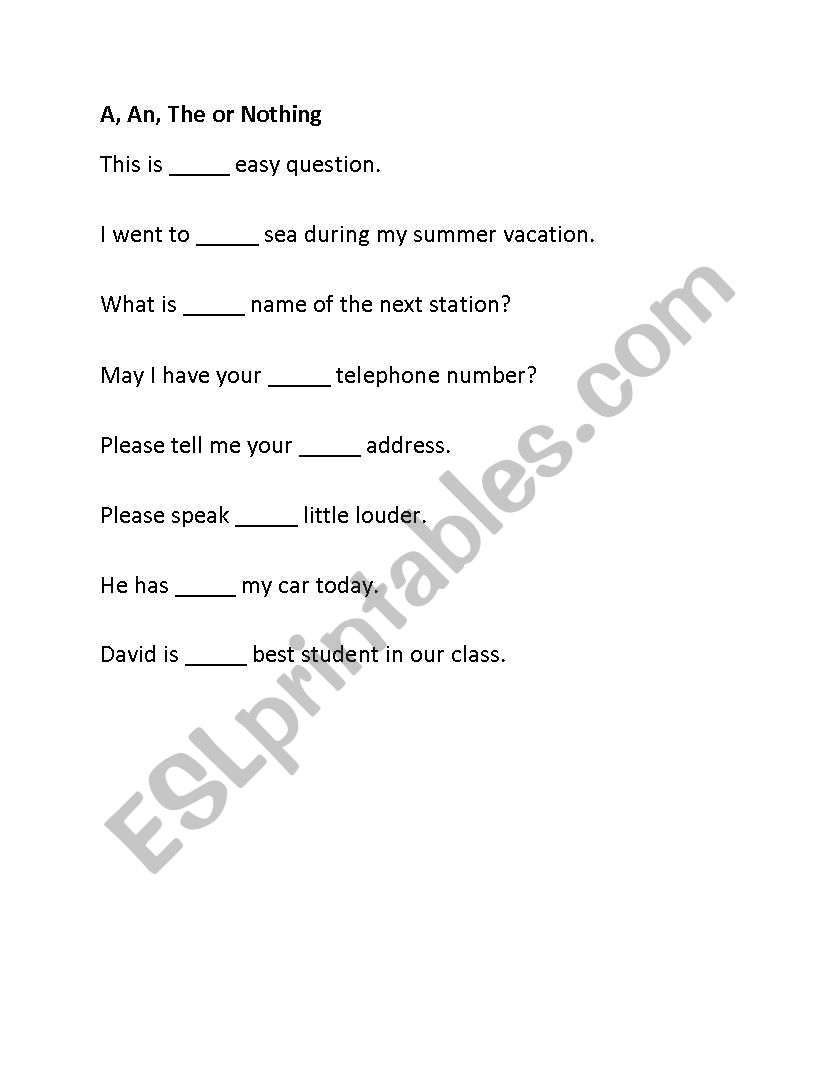 English worksheets: English quiz questions