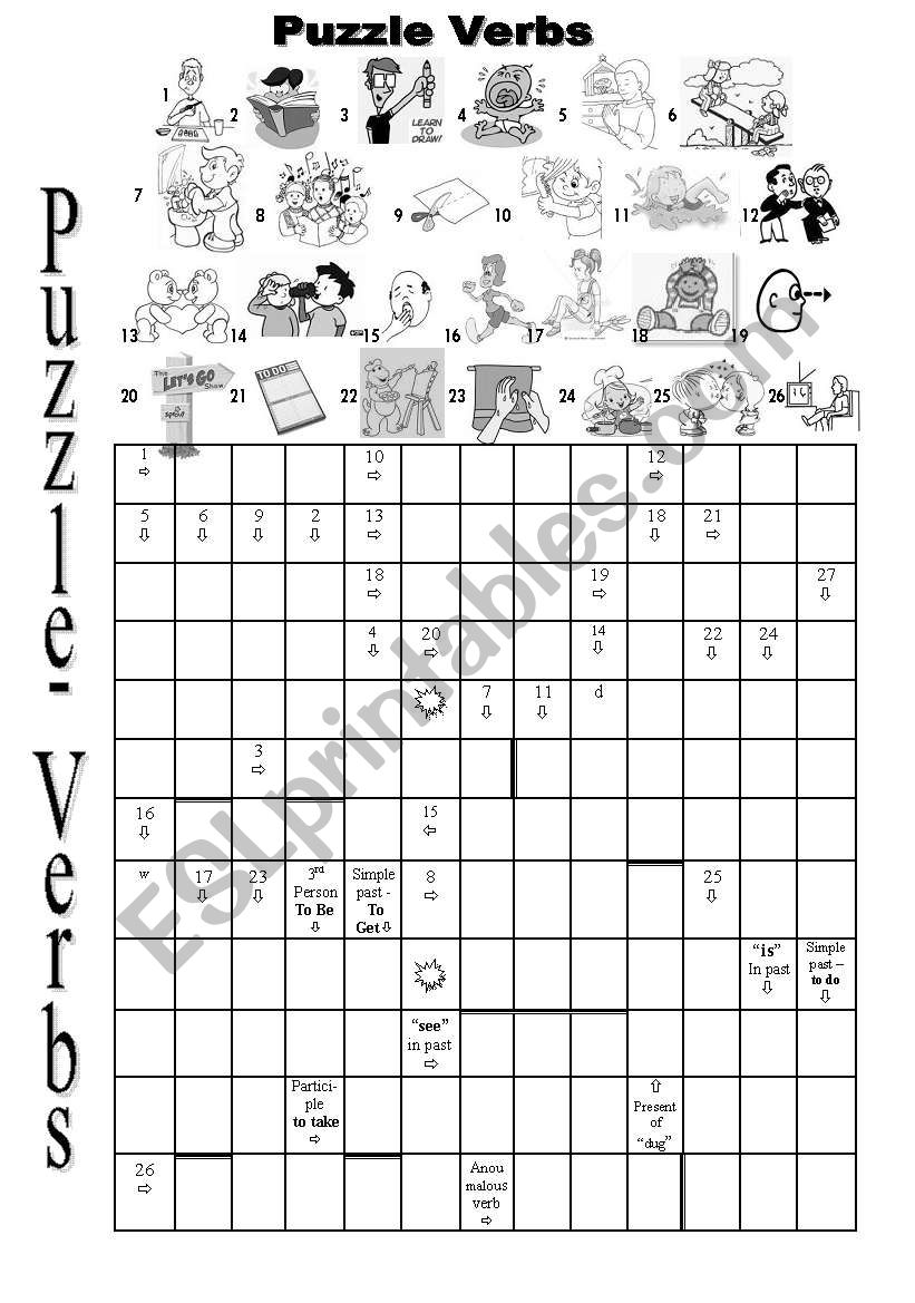 Puzzle about Verbs worksheet