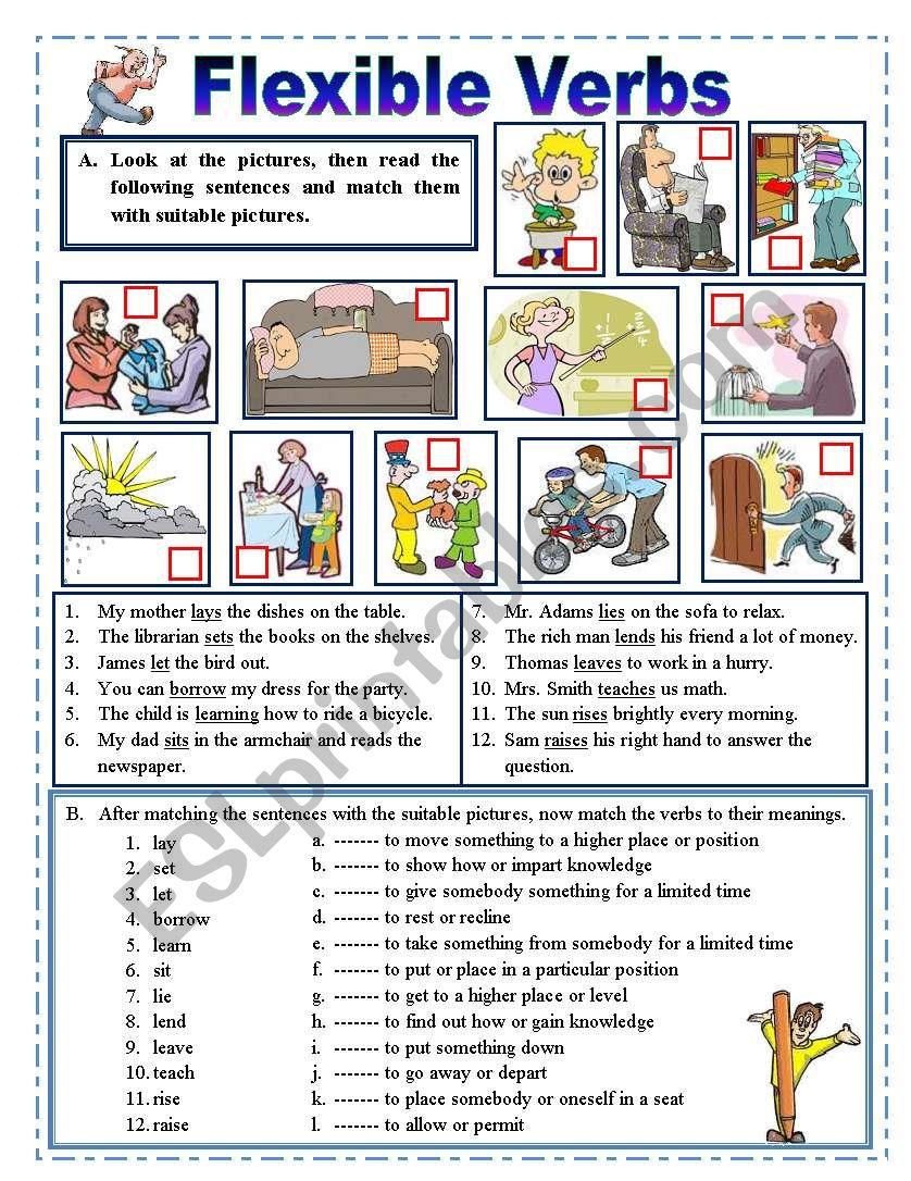 Flexible verbs. worksheet