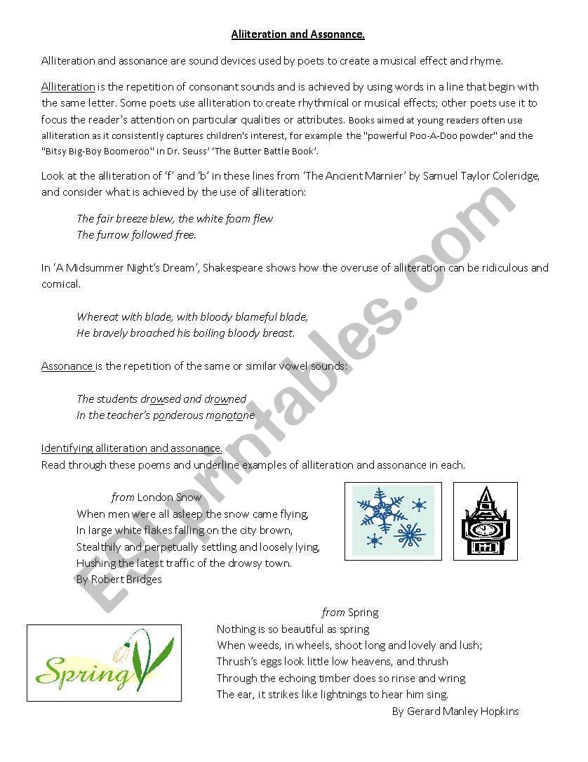 Assonance And Alliteration Esl Worksheet By Melcadd