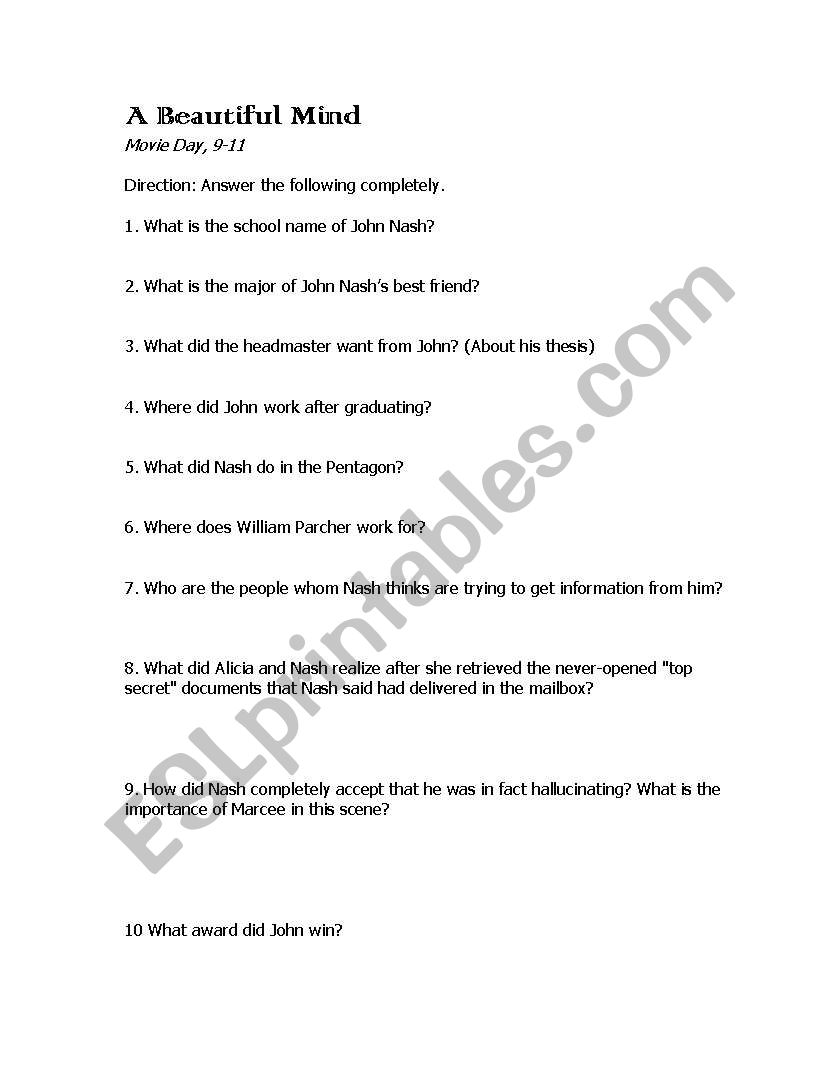 worksheet A Beautiful Mind Worksheet english worksheets a beautiful mind worksheet