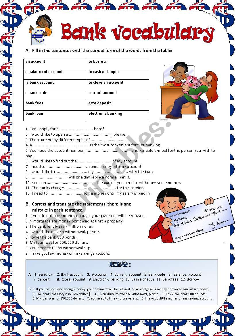 Bank vocabulary - ESL worksheet by Kvetka27
