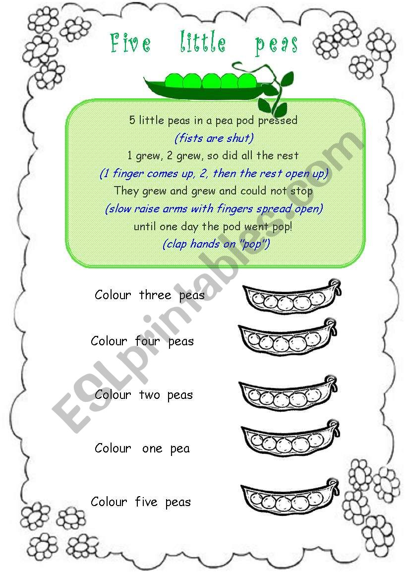 Five little peas worksheet