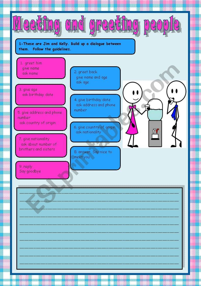 English Worksheets Meeting And Greeting People