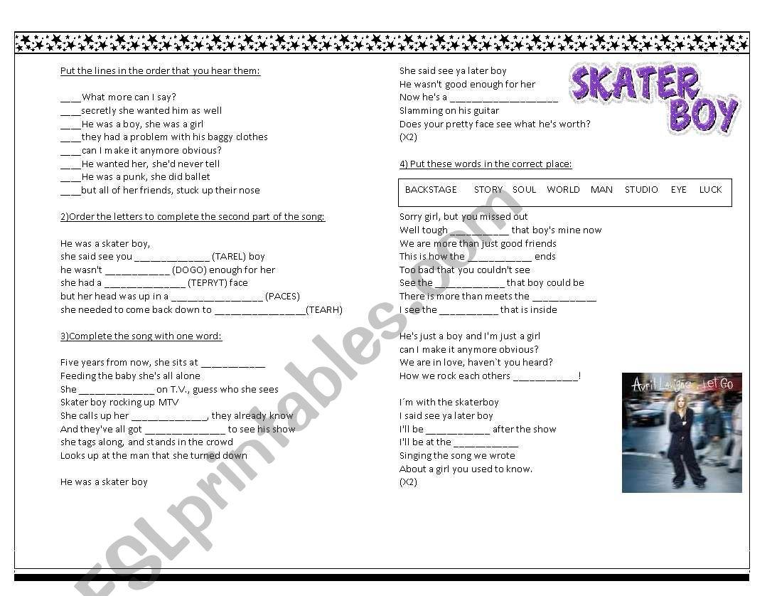 Skater Boy Song worksheet