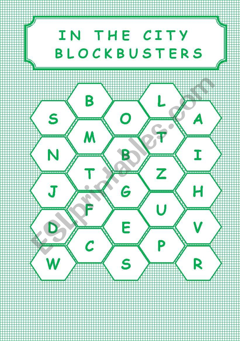 IN THE CITY - BLOCKBUSTERS worksheet