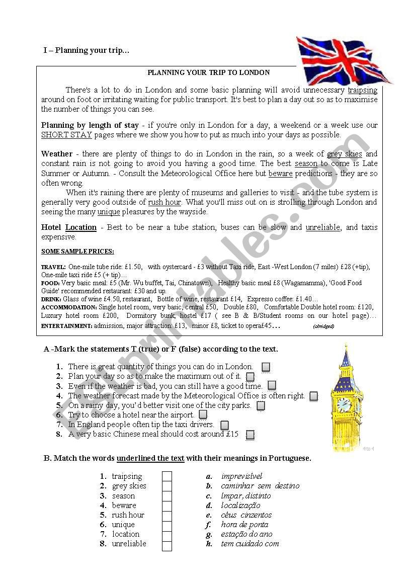 planning a trip to London worksheet
