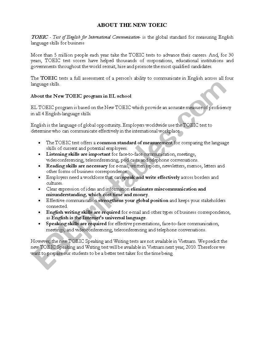 New TOEIC worksheet