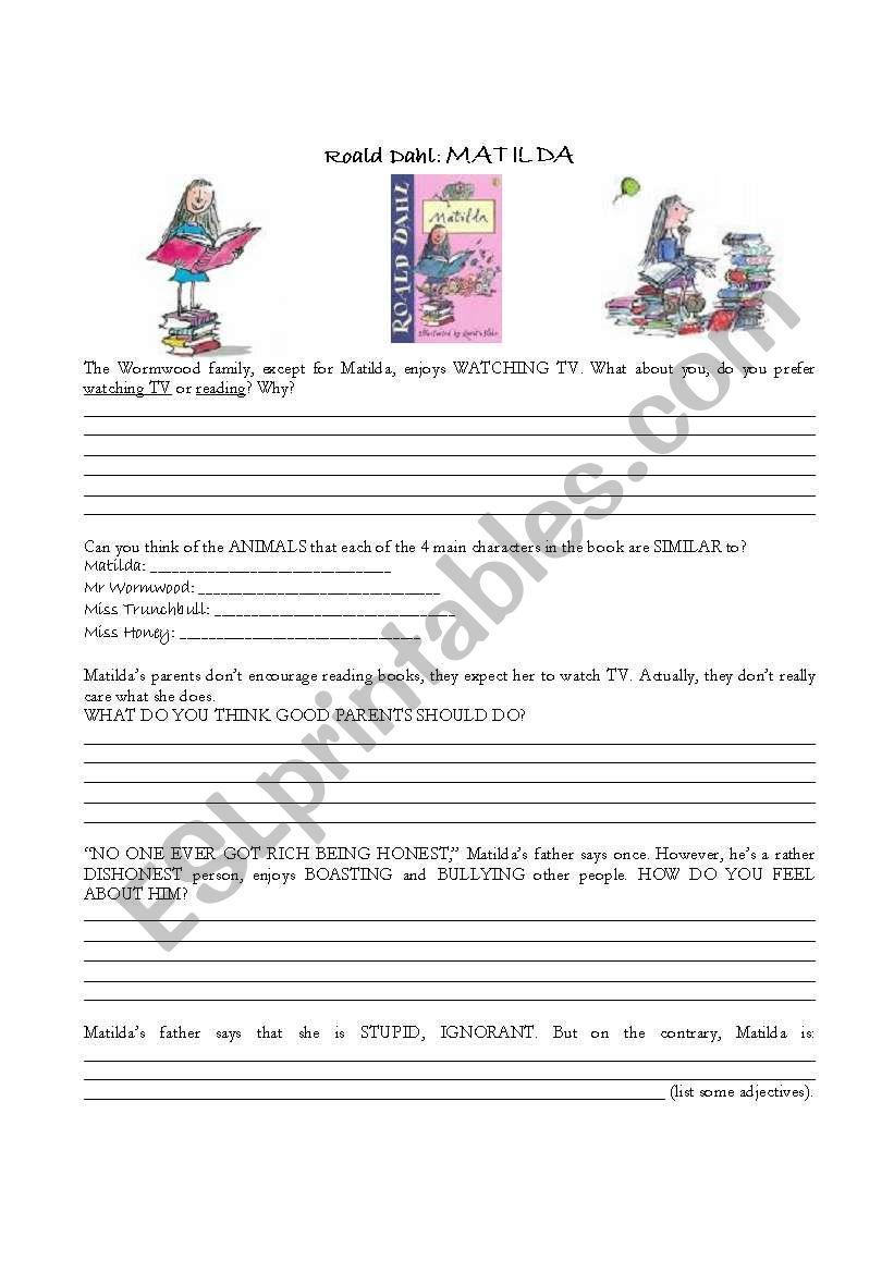Roald Dahl: MATILDA worksheet