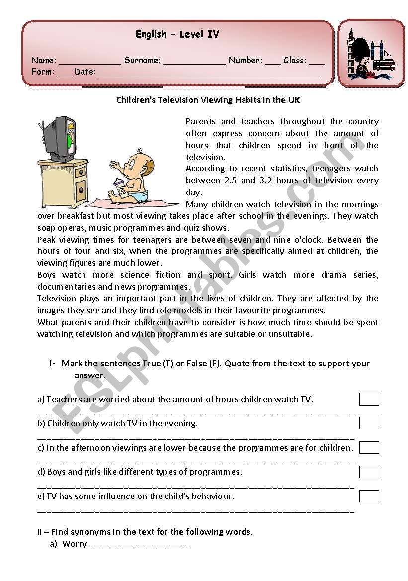Test about children´s television viewing habits