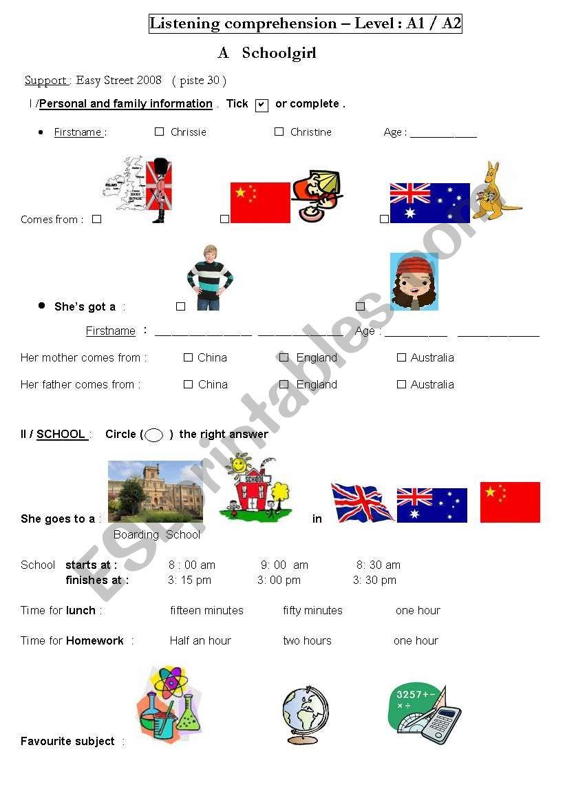 a school girl in australia worksheet