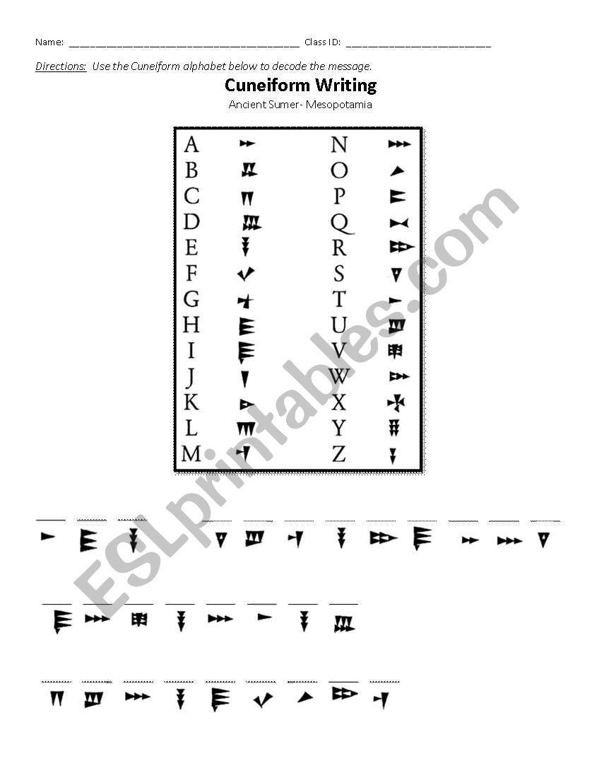 worksheet Mesopotamia Worksheets english worksheets mesopotamia cuneiform decoding decoding