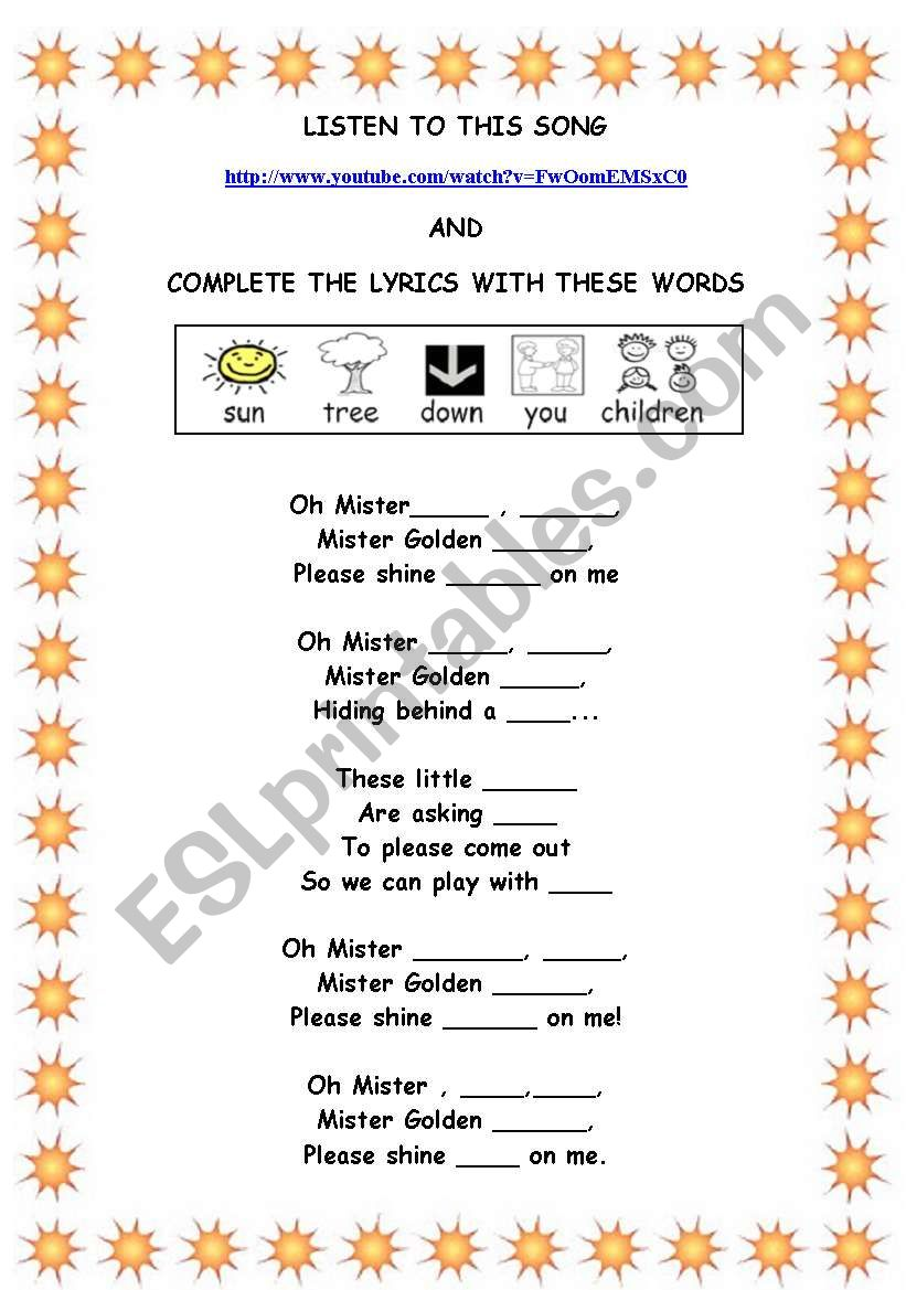 Song: Mr Sun worksheet