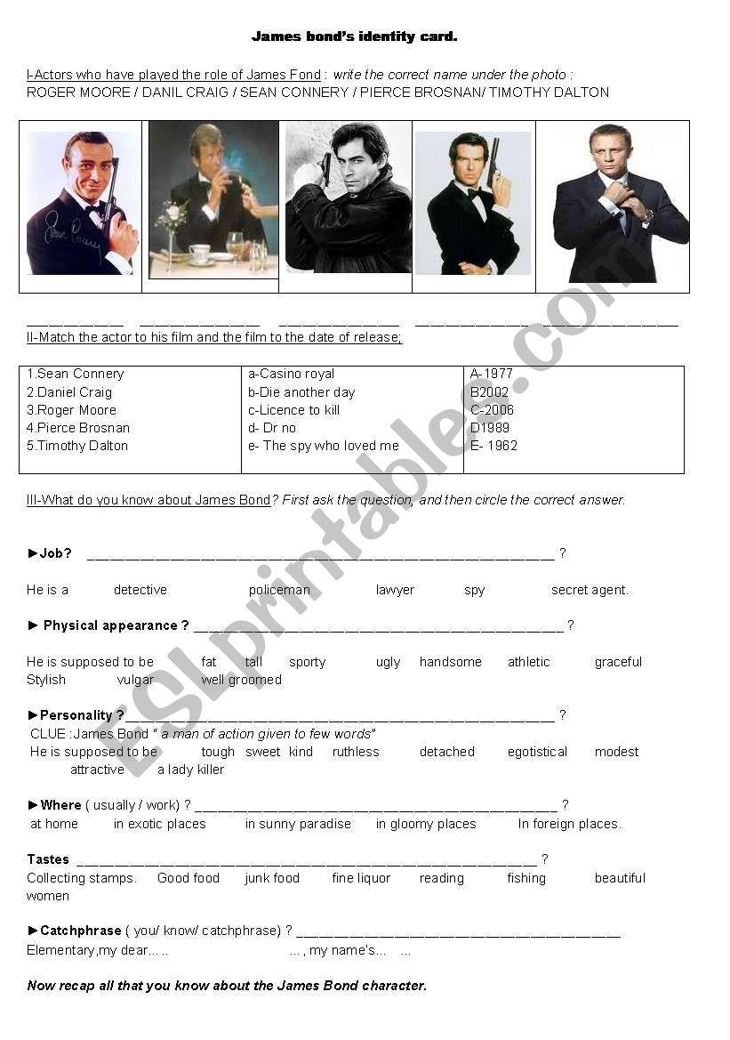 James Bond worksheet