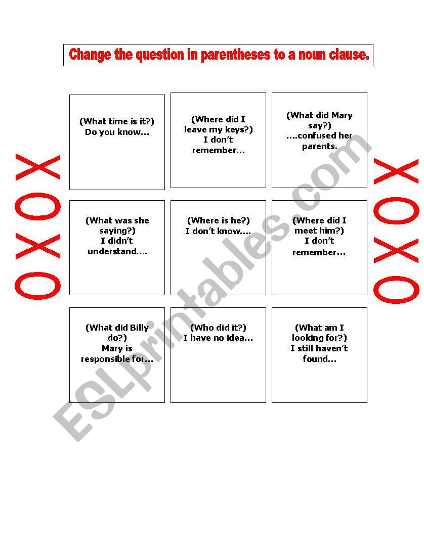 photograph about Tic Tac Toe Printable referred to as NOUN CLAUSE TIC TAC TOE - ESL worksheet by means of annagonzalez727