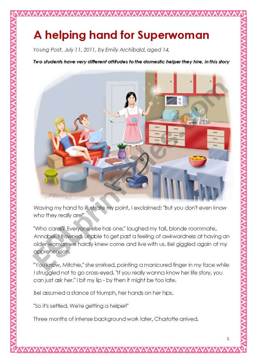 Suitable for HKDSE School-based assessment (SBA) - print-fiction (a short fiction for practice). A helping hand for Superwoman (written by a girl aged 14)