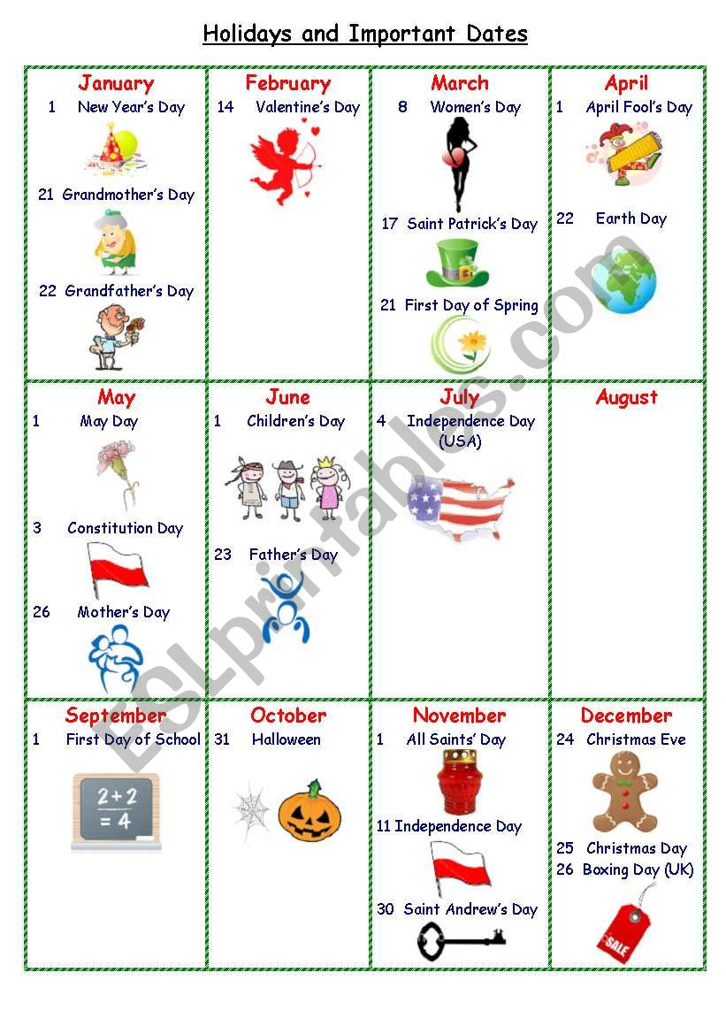 Holidays and Important Dates Calendar