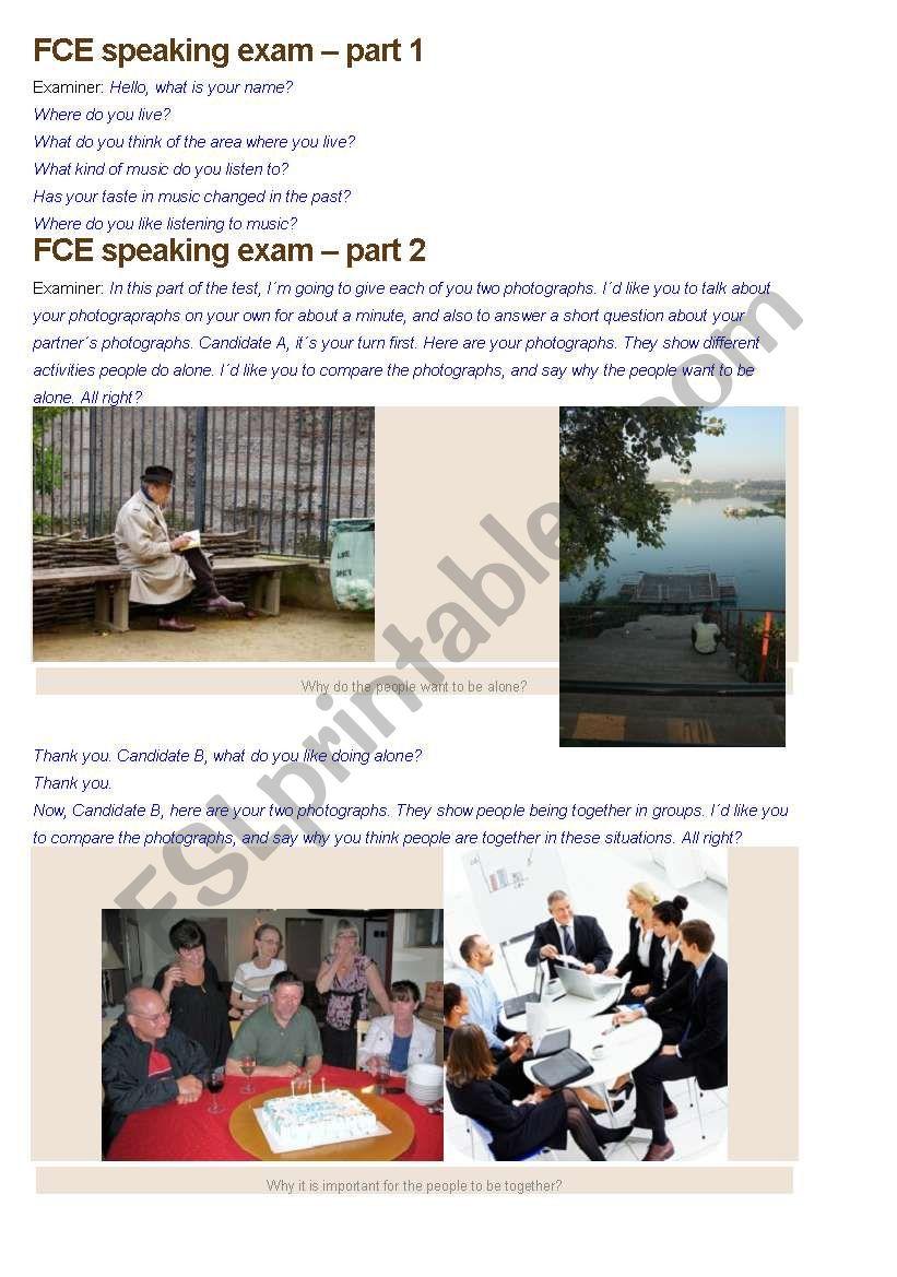 FCE speaking exam - full test worksheet