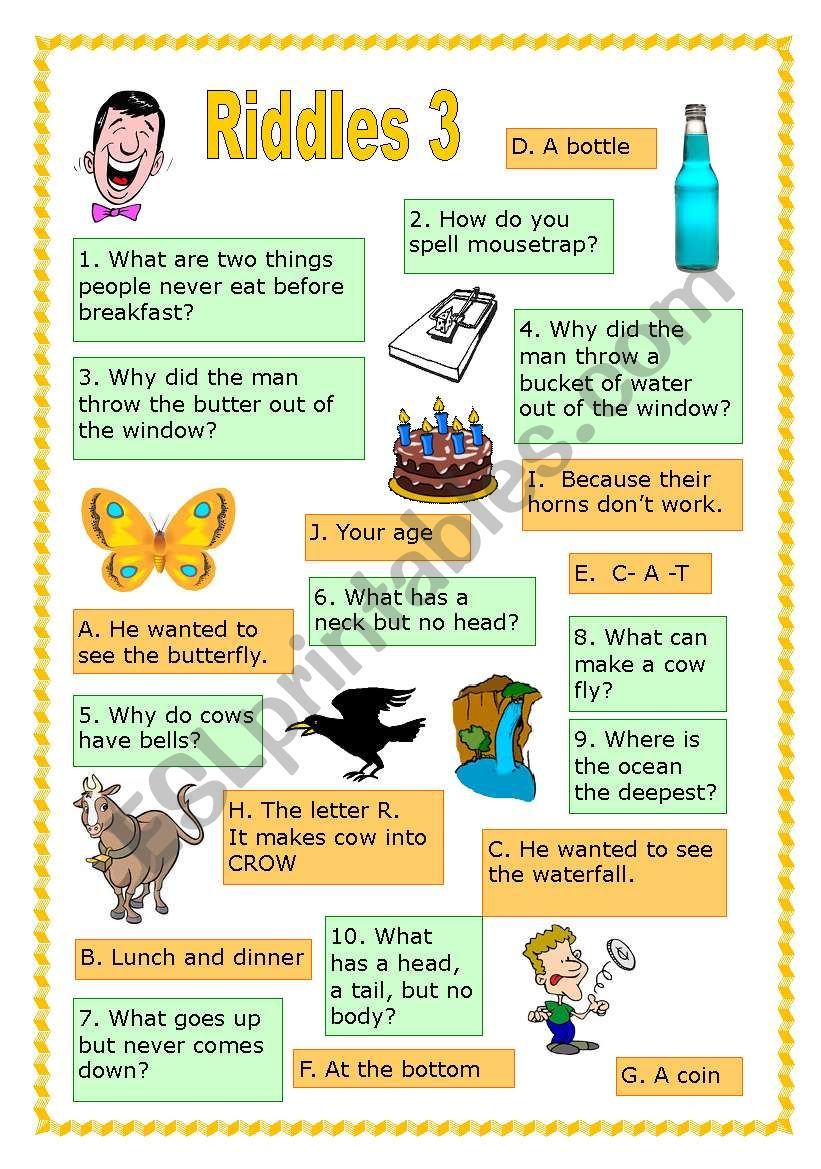 Riddles 3 worksheet