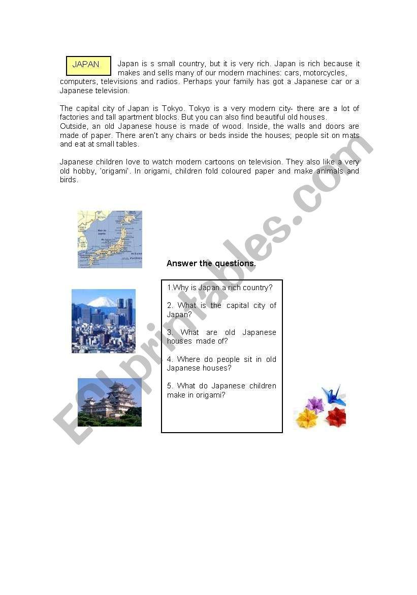 Japan - ESL worksheet by pollobon