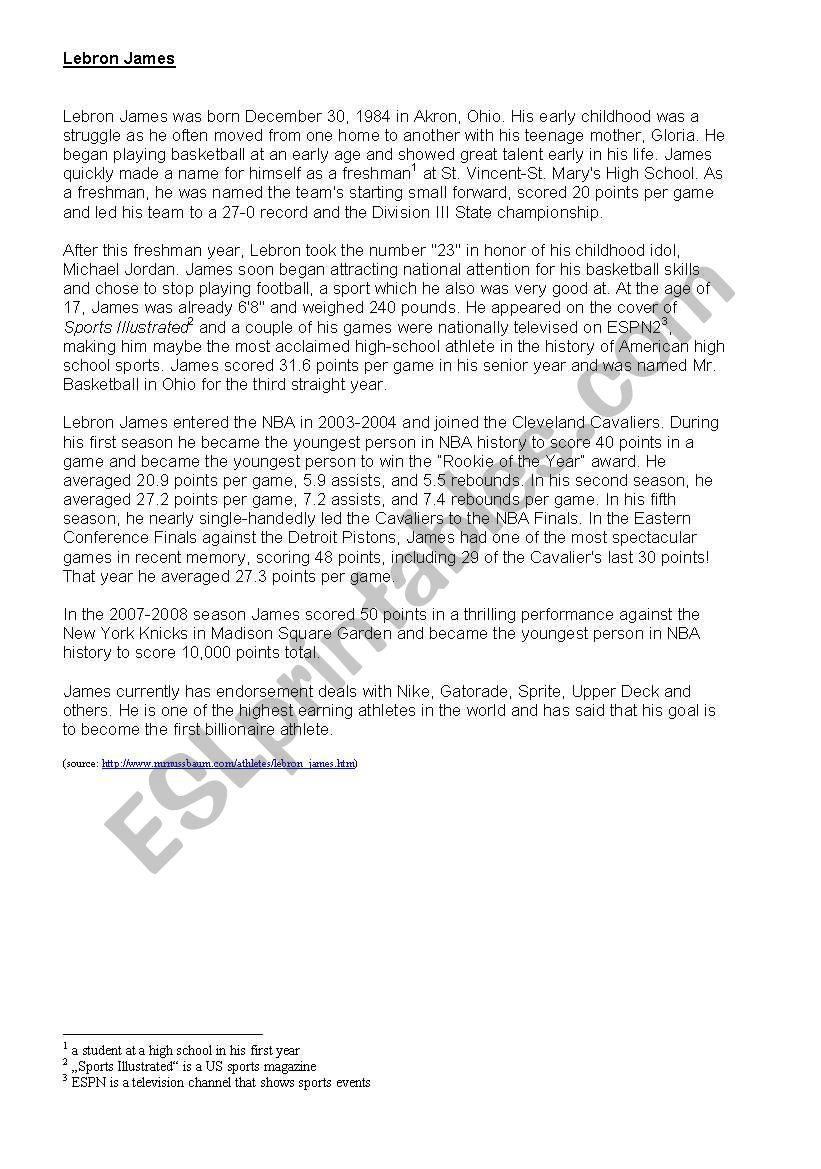 Lebron James Basketball Player Esl Worksheet By Thex83