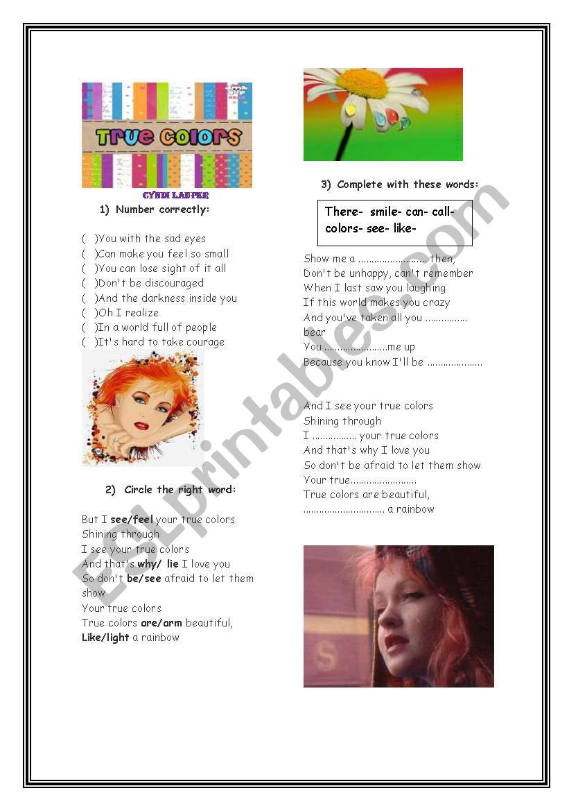 True Colors**** Cyndi Lauper****Editable****With Answers*** 04 pages