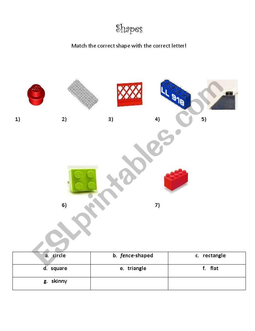 Shapes (Quiz) worksheet