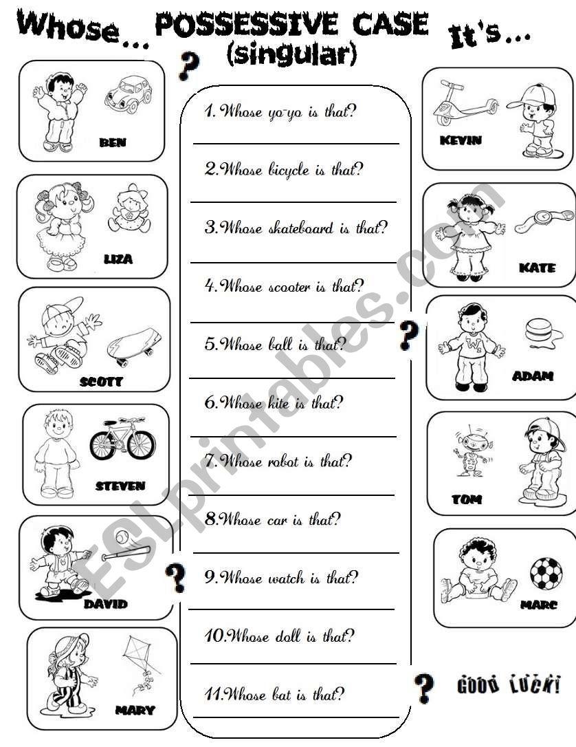 Possessive Case +Toys worksheet