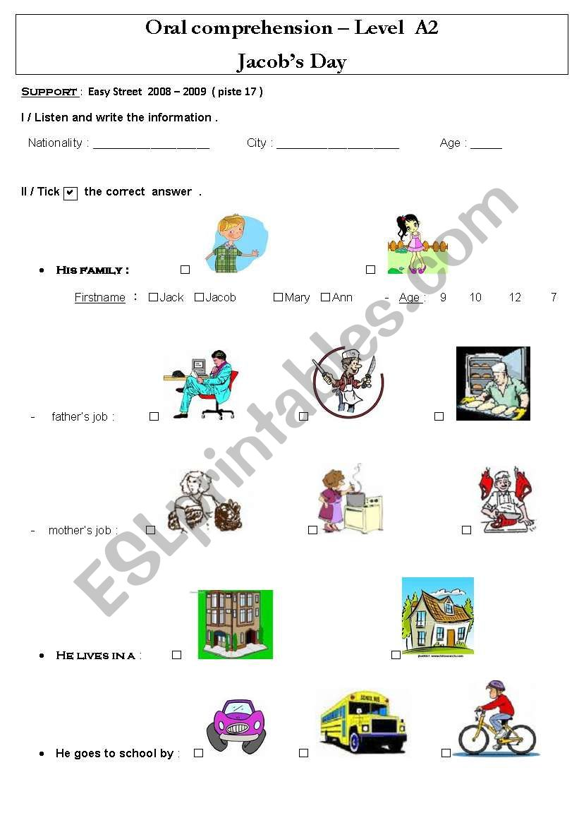 Daily Routines Jacob´s day worksheet