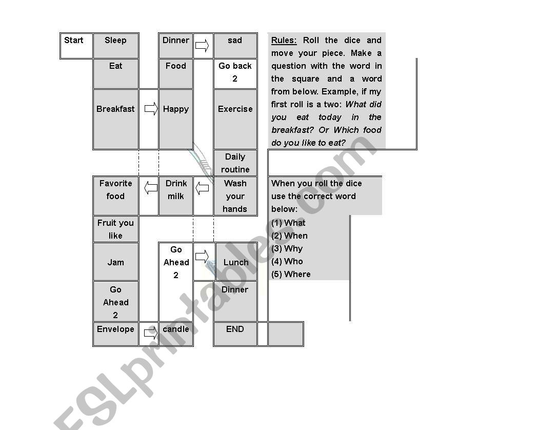 Board Game on ´W´ questions worksheet