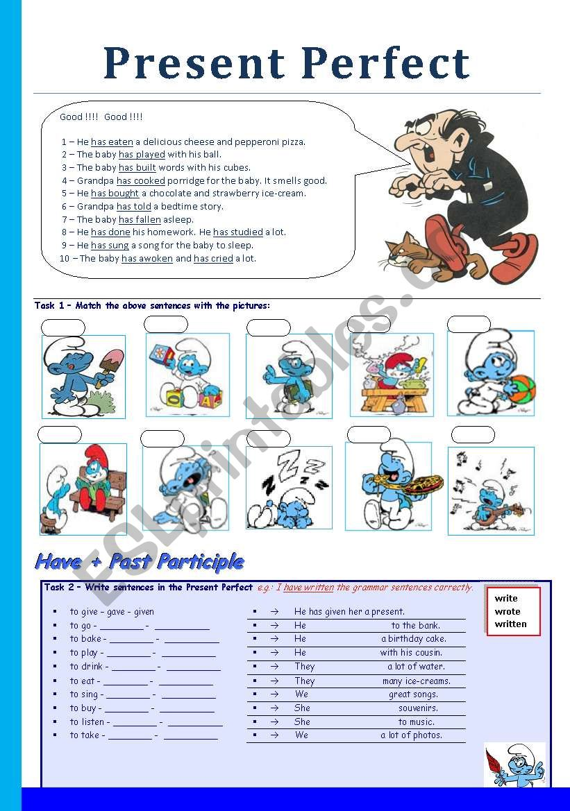 Present Perfect with the Smurfs