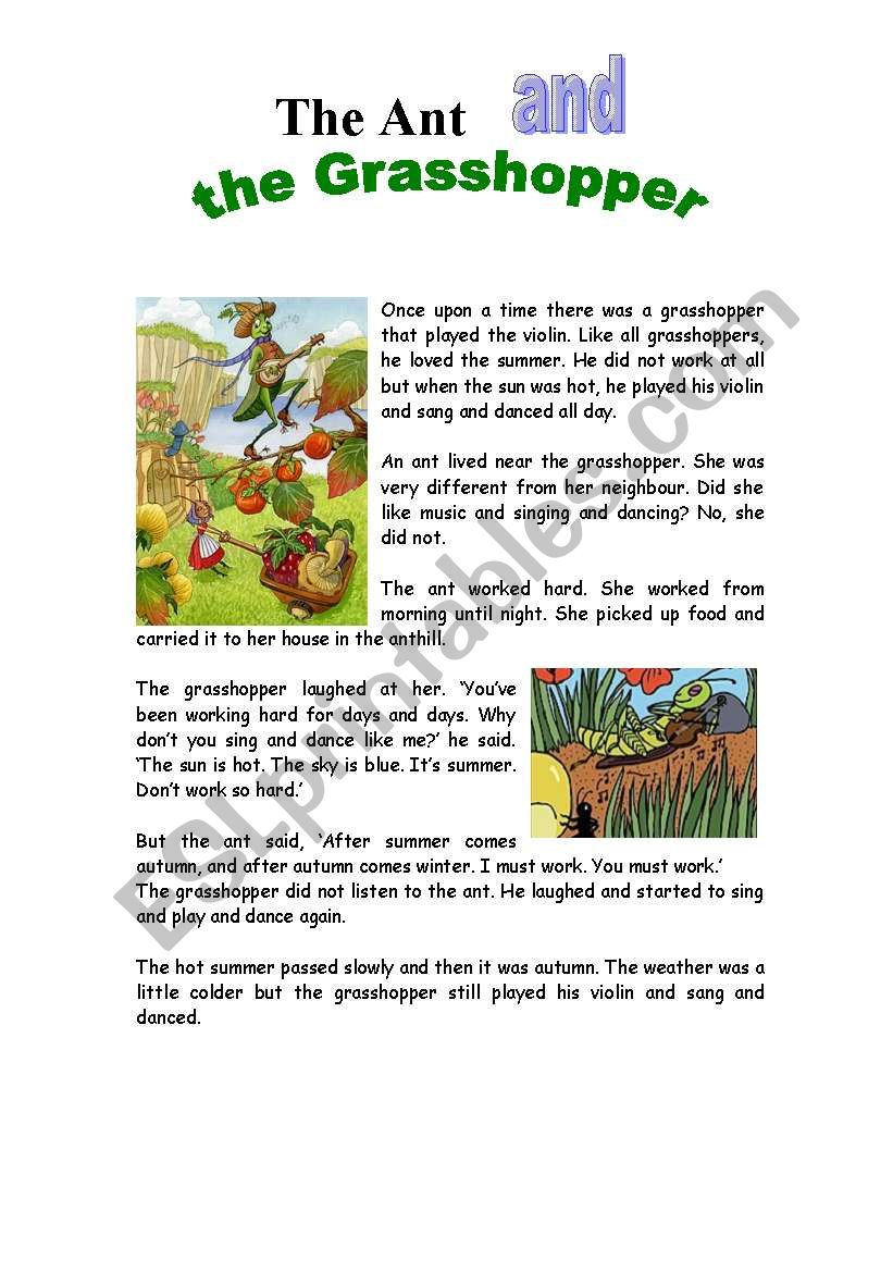 graphic regarding The Ant and the Grasshopper Story Printable titled The Ant and the Grhopper - ESL worksheet through silviana_s
