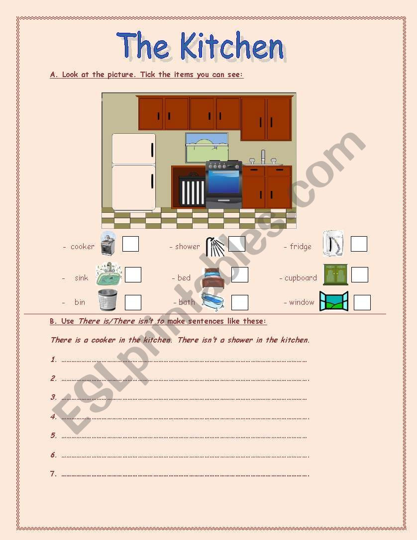 the kitchen worksheet