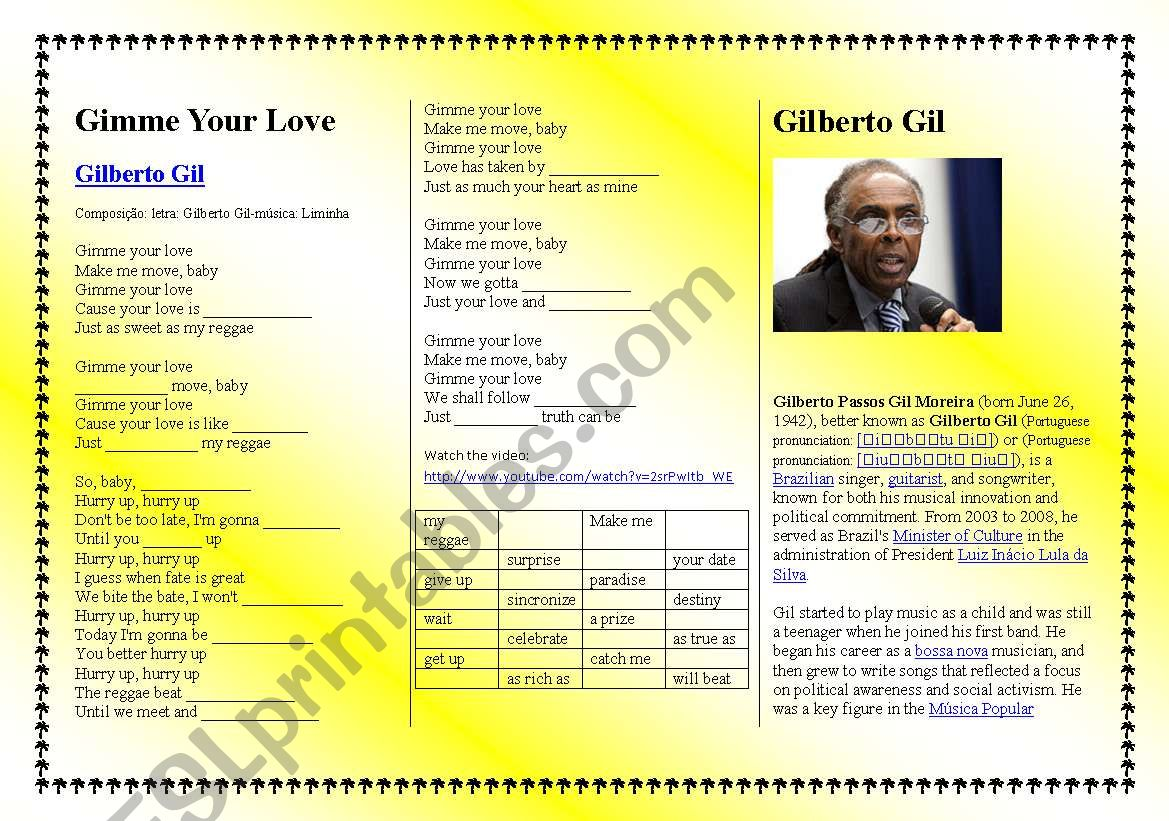 Song: Gimme Your Love - Gilberto Gil