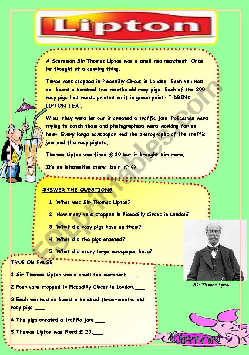 Lipton Tea worksheet