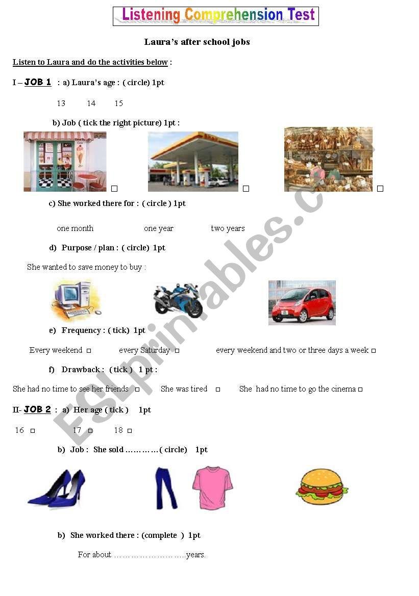Laura´s after school jobs  worksheet