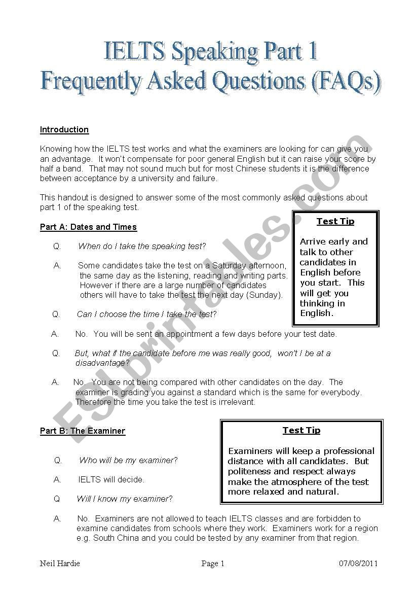 IELTS Speaking Part 1 FAQs worksheet