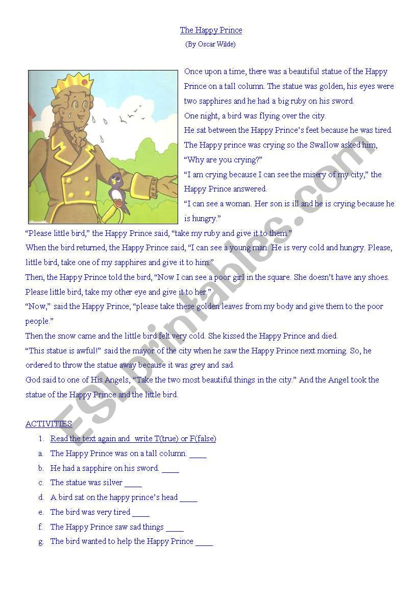 The Happy Prince - ESL worksheet by Marisolanabel