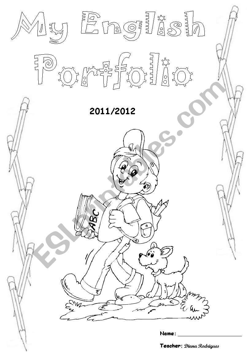 English Portfolio Cover worksheet
