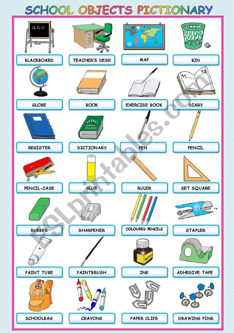SCHOOL OBJECTS PICTIONARY worksheet