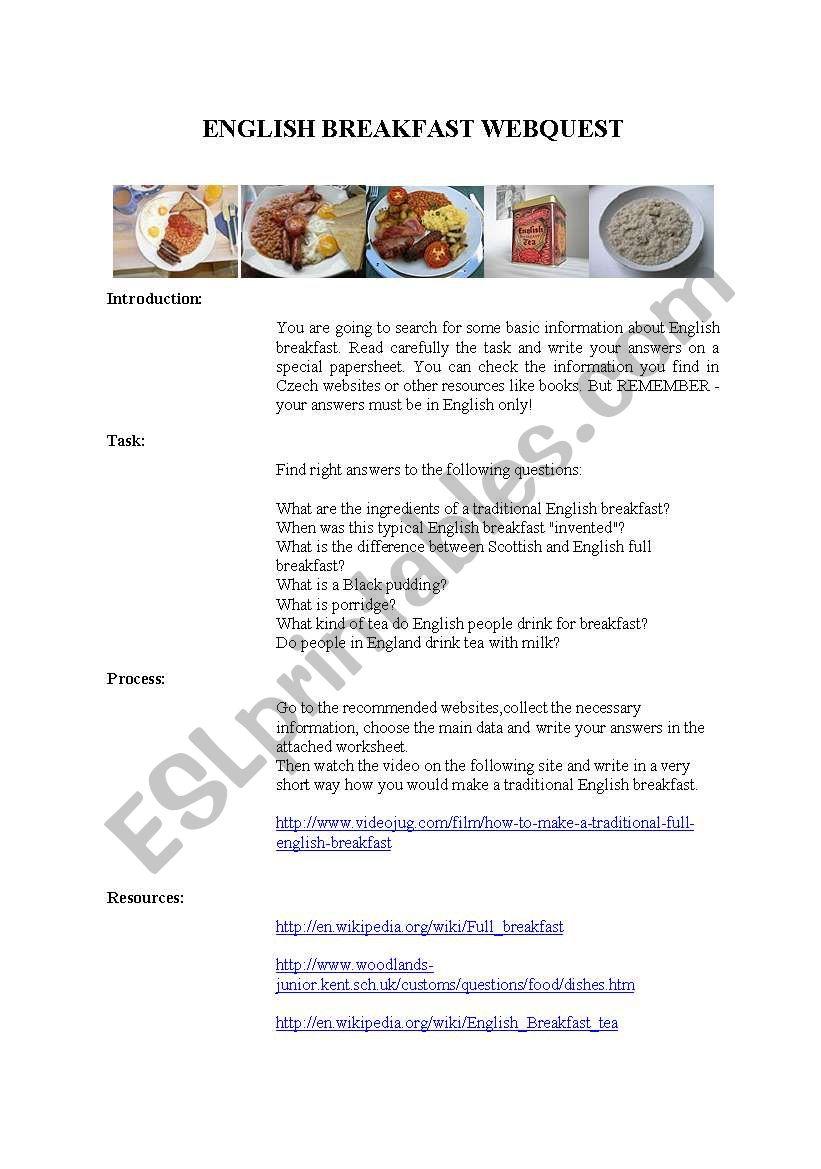 ENGLISH BREAKFAST webquest worksheet