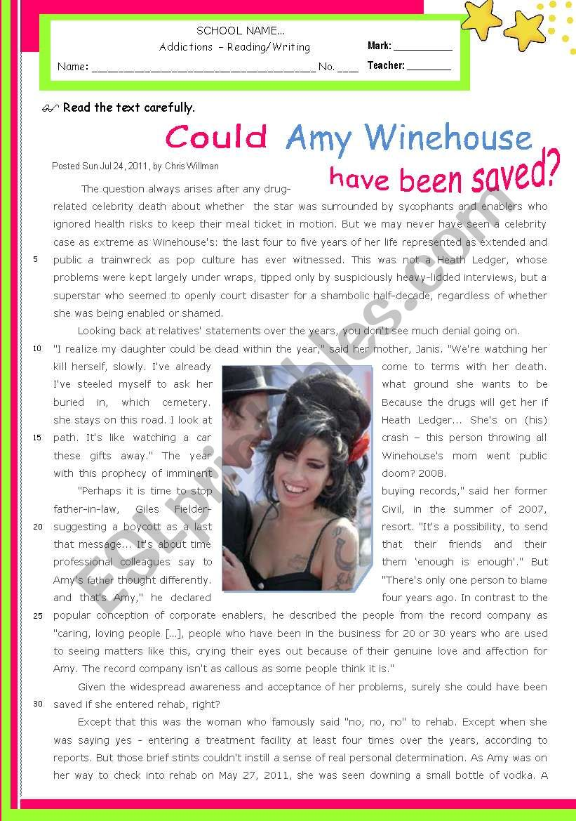 Addictions:  Could Amy Winehouse have been saved?  - Reading + Writing