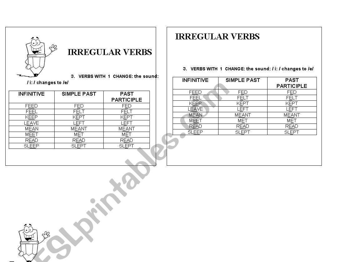 IRREGULAR VERBS CASE 3 worksheet
