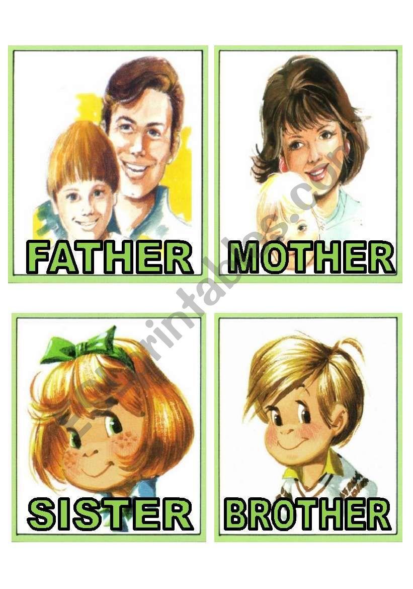 family members flash cards worksheet