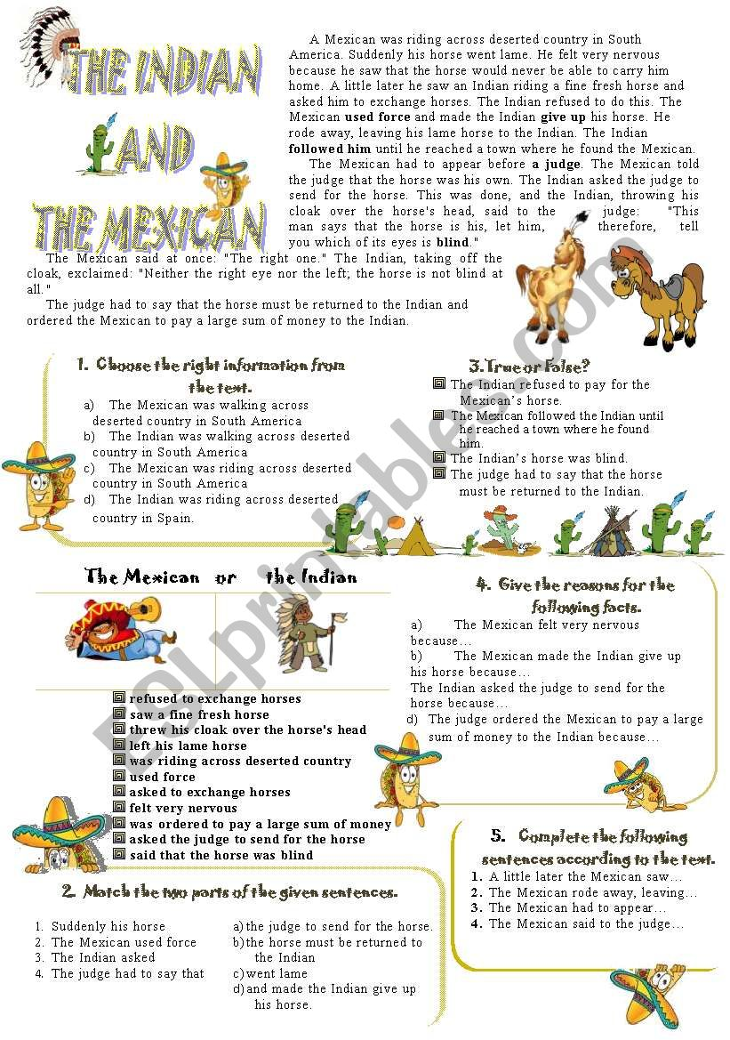 The indian and the mexican reading speaking 6 exercises with reading speaking 6 exercises with keys ibookread Download