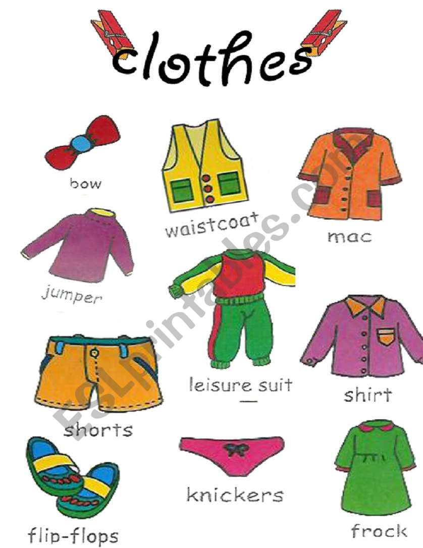 clothes pictionary 1/2 worksheet