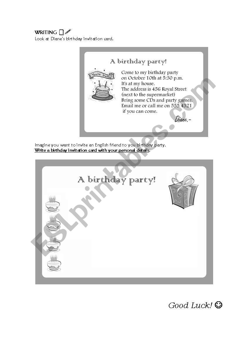 Superb Writing A Birthday Invitation Card Esl Worksheet By Personalised Birthday Cards Paralily Jamesorg
